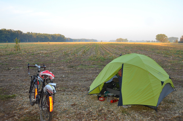 Camping on the edge of a cornfield.