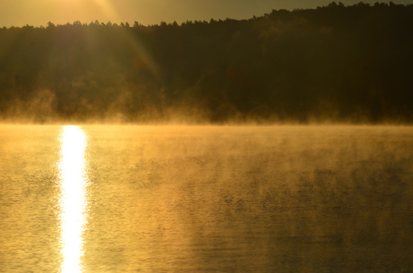The morning mist rising off the lake at camp.