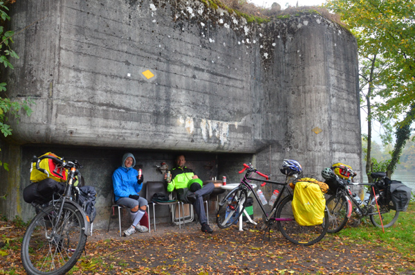 Sheltering from the rain in a WWII bunker.