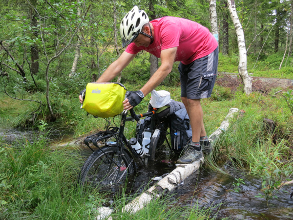 ...and took this detour. We're testing the waterproofness of our new Arkel panniers.