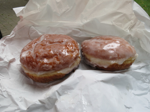 The Paczki morning snack. These are huge donuts filled with rose marmalade.