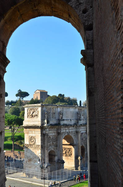 The Arch of Constantine viewed from the Colosseum.